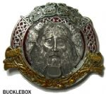 Celtic God of Music Belt Buckle + display stand. Code BM2
